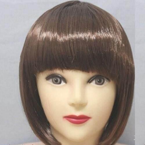 Upsee Coklat 30 Cm Fashion Wanita Sexy Berponi Penuh Wig Lurus Pendek Bobo Pesta Cosplay Wig Lengkap