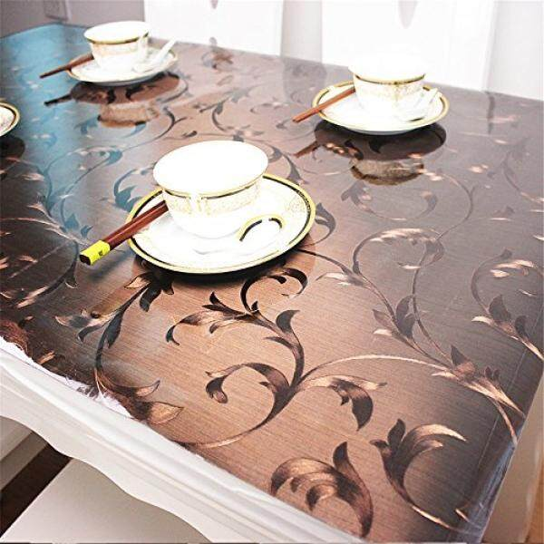 Table Pads OstepDecor Custom Plastic Tablecloth Vinyl Cover Table Furniture Protector Kitchen Dining Top Waterproof Side Table End Desk Pads Brown 42 x 60 Inches (107 x 152.4cm) - intl