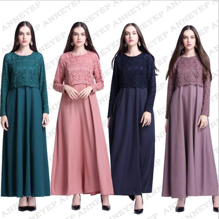 AliExpress Model Baru Gaun Wanita Muslim Seolah-olah Dua Potongan RESTONIC Elegan Baju Wanita Arab Baju Wanita Jubah