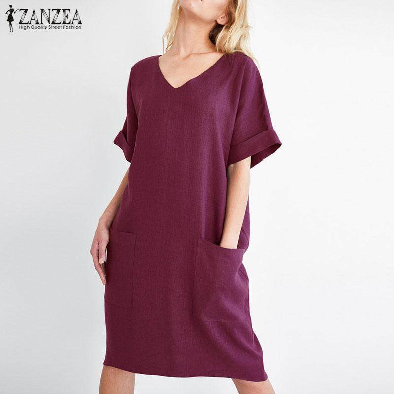 ab541bcb6b S-5XL ZANZEA Women V Neck Short Sleeve Casual Summer Tunic Long Shirt Dress  Plus