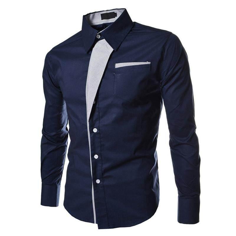 4b434326665d Autumn Dark Blue Casual Male Long Sleeve Stripe Shirts Social Blouses Slim  Fit Shirts L -