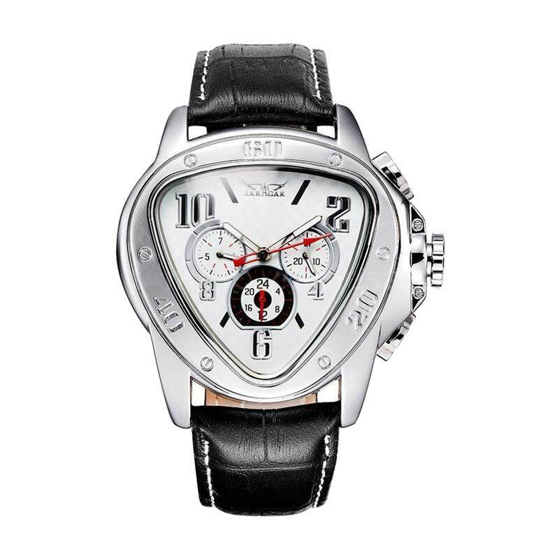 JARAGAR Fashion Men Self-wind Mechanical Automatic Dial Leather Wrist WatchColor:White