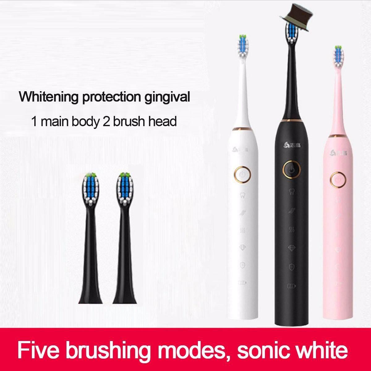 ตาก USB เกี่ยวกับระบบเสียงที่สามารถชาร์จไฟได้แปรงสีฟันไฟฟ้า 2 ชิ้นหัวแปรงถอดเปลี่ยนได้  กันน้ำอัตโนมัติฟันแปรงสีชมพู สีดำ สีขาว