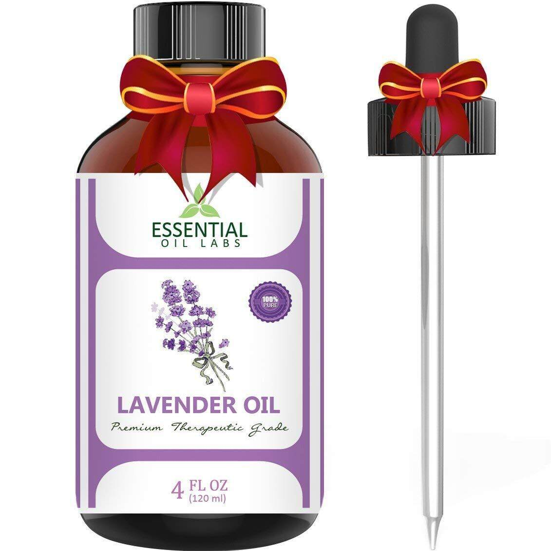 Essential Oil Labs Lavender Essential Oil - Highest Quality Therapeutic Grade Backed by Research - Largest 4 Oz Bottle with Premium Glass Dropper - 100% Pure and Natural - Guaranteed Results