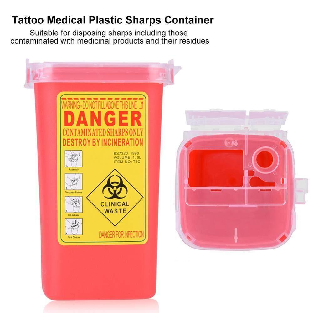 Tato Plastik Medis SHARP Container Biohazard Jarum Pembuangan 1L Limbah Ukuran Kotak-Internasional