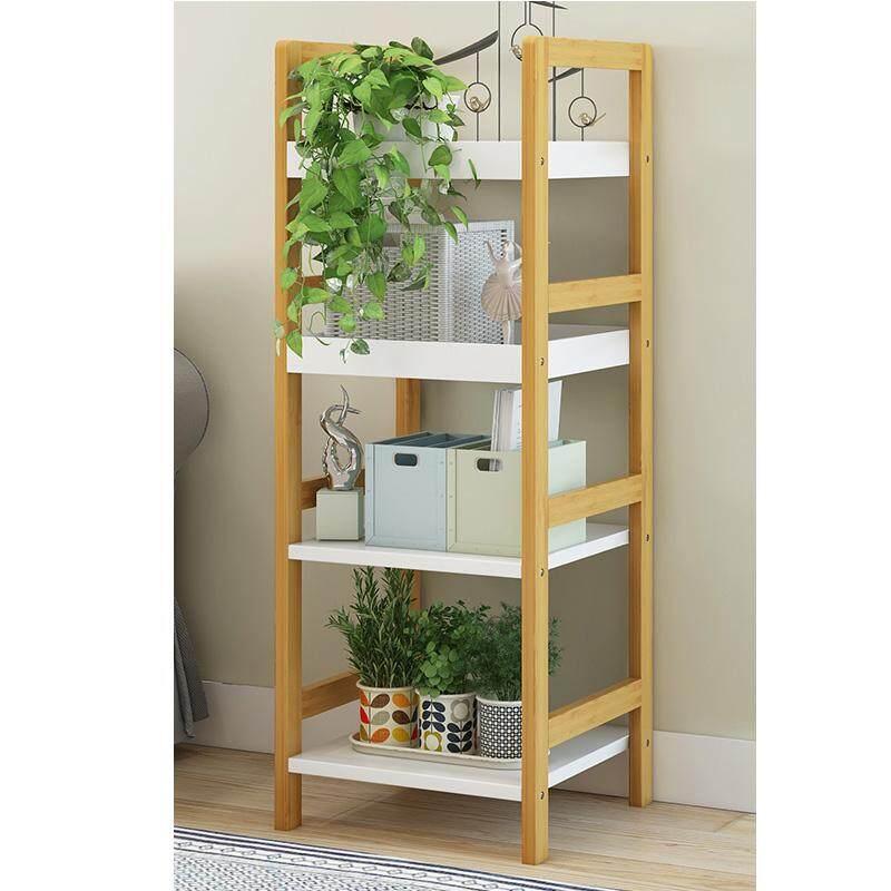 RuYiYu - 100x30x30cm, 4-Layer Verical Bookshelf, Living Room Floor Rack, Wood Color Bookcase Shelf, Succulent Flower Stand, Bamboo Material