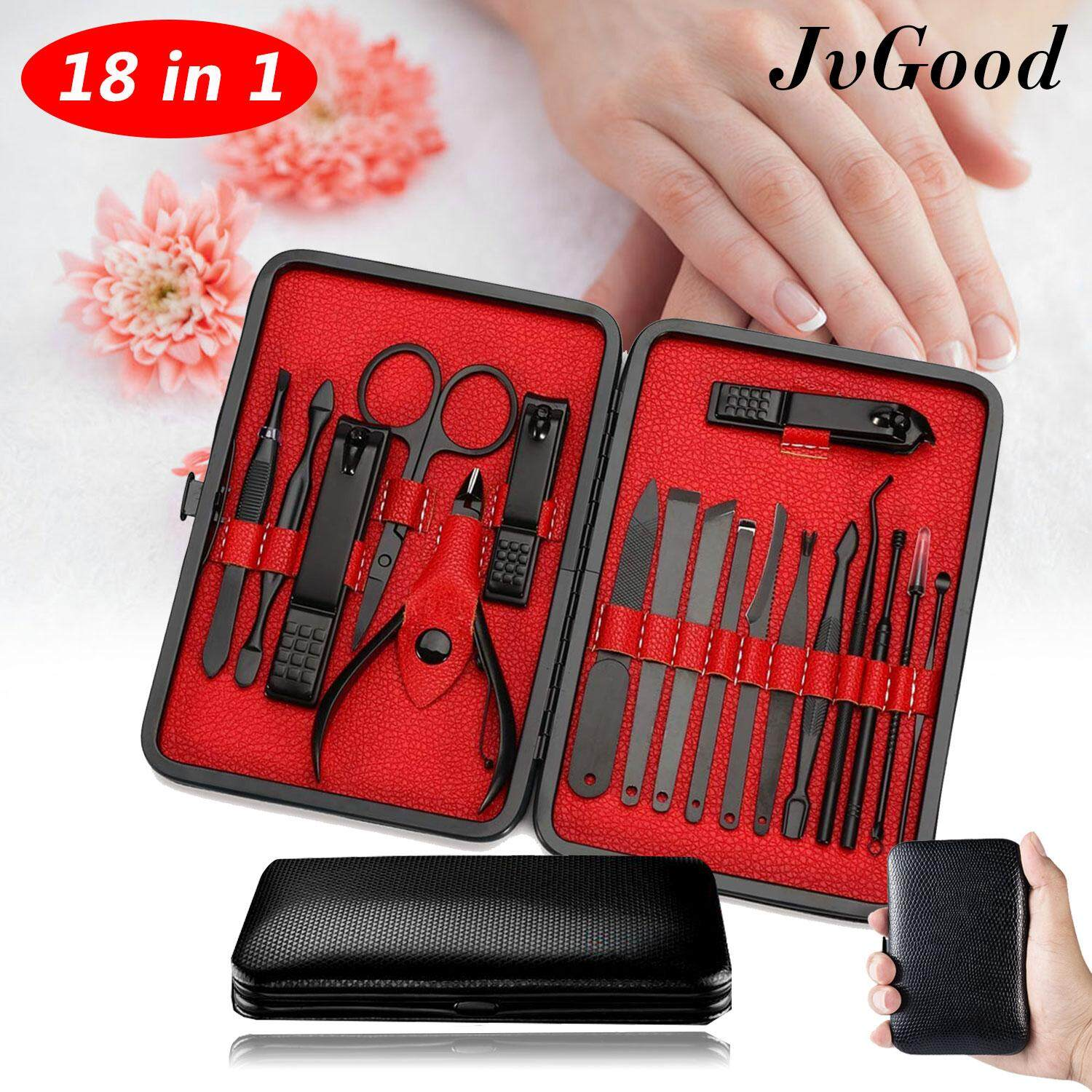 JvGood Nail Clippers Set 18 Pcs Stainless Steel Pedicure Manicure Kit Cuticle Grooming Set Personal Nail