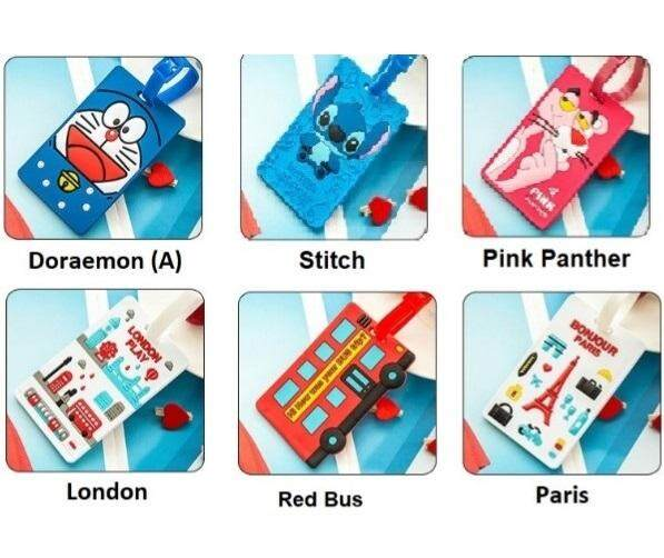 Set of 6 Cartoon Set of Luggage Tags (Doraemon, Stitch, Pink Panther, Red Bus, London, Paris)