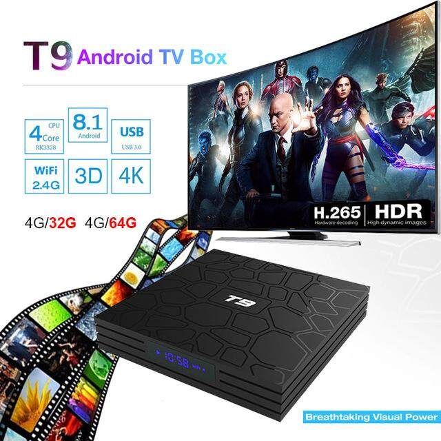 Newest 4GB 64GB Android 8.1 TV Box T9 RK3328 Quad Core 4G/32G USB 3.0