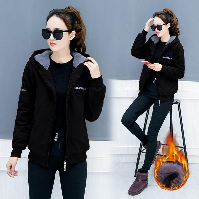 เสื้อสไตล์เกาหลีเสื้อสเวตเตอร์เพิ่มขนหญิงฤดูใบไม้ร่วงและฤดูหนาว.