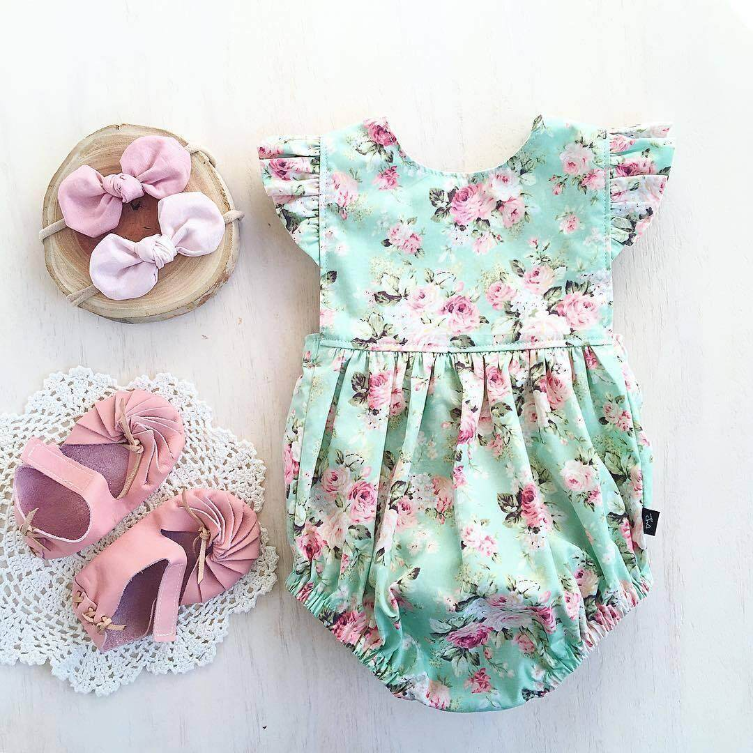 63285a7a4101b New One Piece Baby Girls Floral Romper Summer ruffled Jumpsuit Playsuit  Infant 0-18M