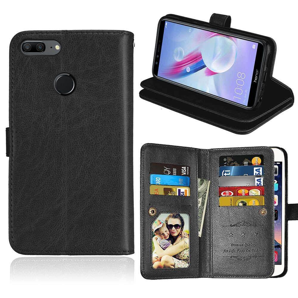 Moonmini Case Cover Untuk PU Dompet Kulit Case Kartu Kover Selot untuk Huawei Honor 9 Lite