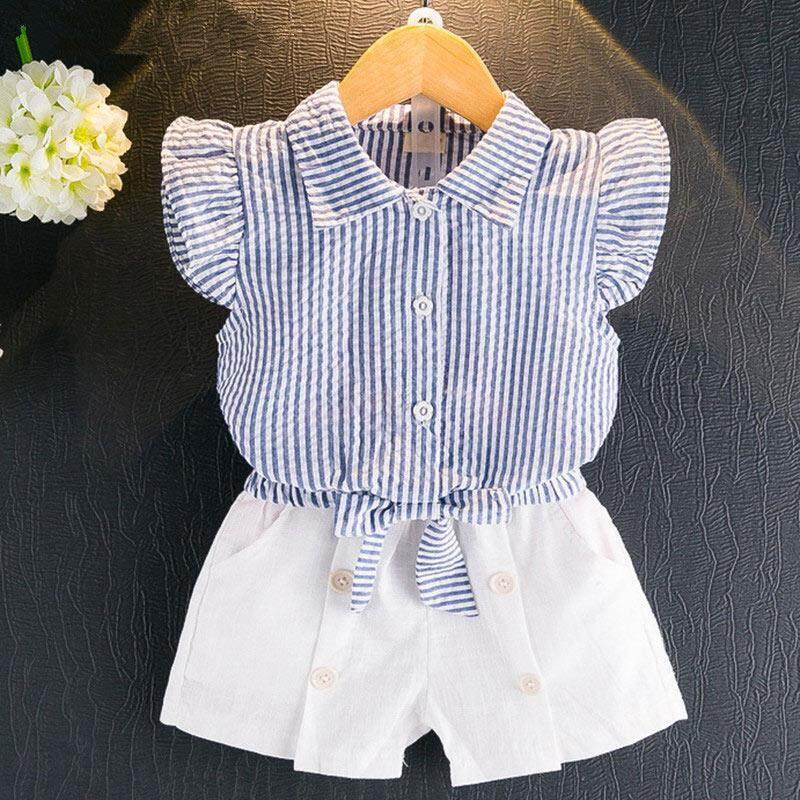 Summer Girl Clothing Sets Kids Sleeveless Stripe T-shirt + Short Pants Girl Fashion Suit - intl