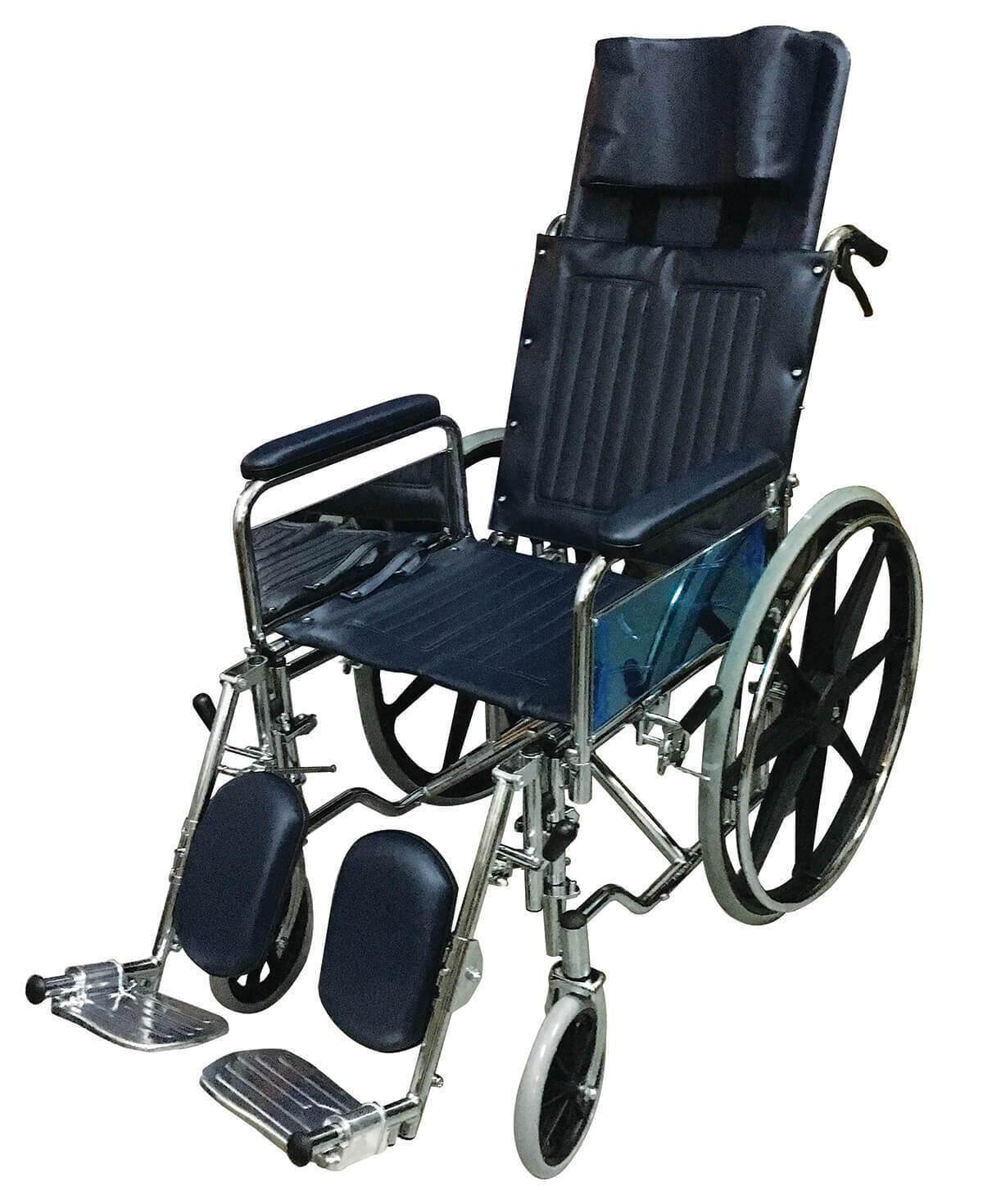 Chrome Steel Reclining Wheelchair (Detachable Armrests, Elevating Footrests, 25kg)