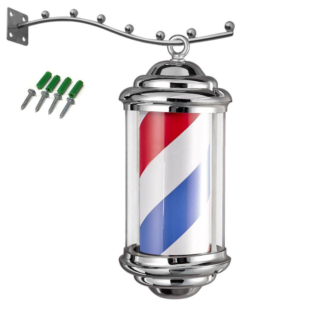 Barber Pole Light Red White Blue Stripes Rotating Metal Hair Salon Shop Sign #220v(EU Plug)