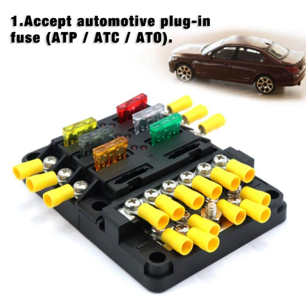 Features 8 Way Dc32v Circuit Blade Fuse Box Block Holder Car Automotive Atc Ato 100a 12p Negative Bus Bar Screw Terminals With