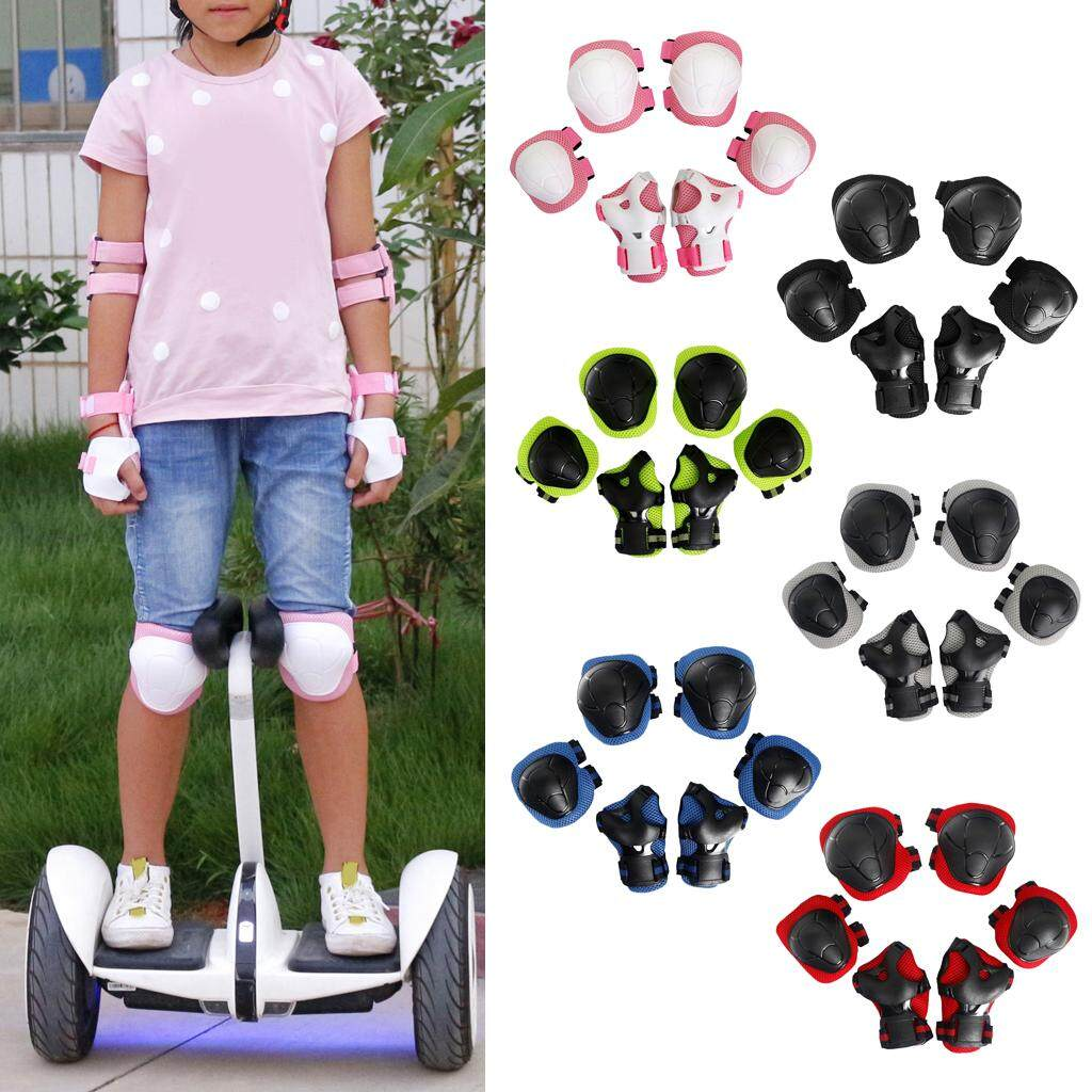Magideal 6 Pcs Kid Child Roller Skating Bicycle Helmet Knee Wrist Guard Elbow Pad Pink By Magideal.