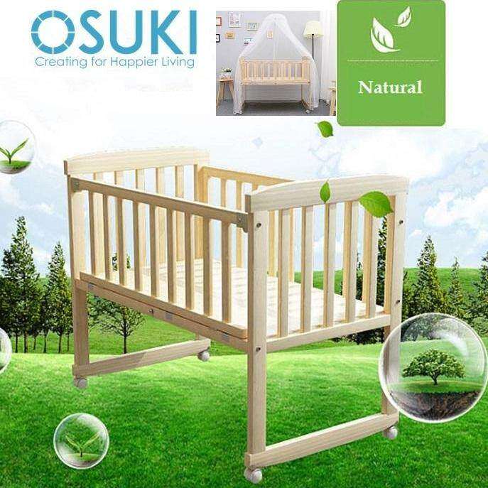 OSUKI Cradle Baby Cot (FREE Mosquito Net & Holder) Wooden Rocking