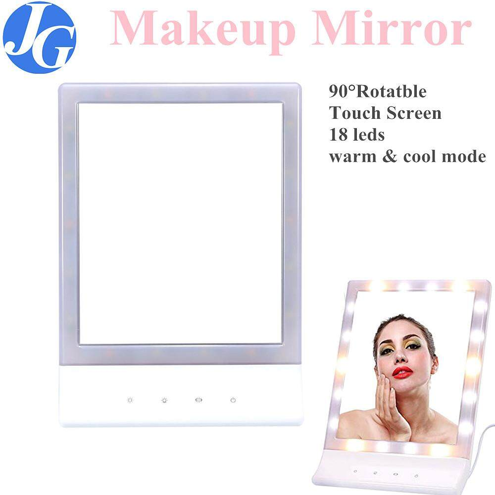 Justgogo Makeup Mirror Touch Screen Mirror With 18 LED Lights Beauty Vanity Mirror Adjust Tabletop Mirror Cosmetic Makeup LED Mirror With 90 Rotating Philippines