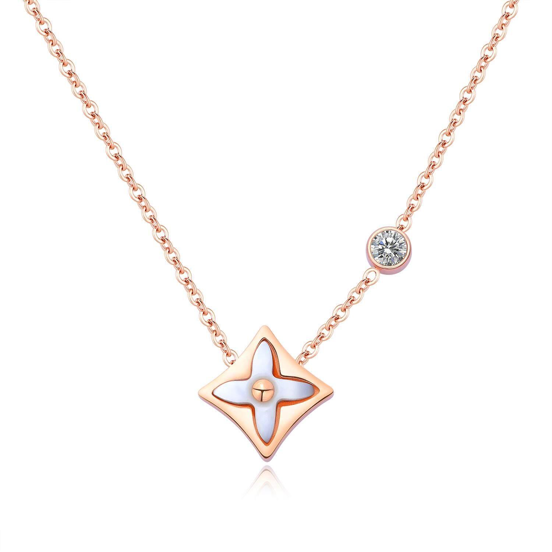 J117 New 4 daun 18 karat lempengan emas kristal cinta Clover khusus rantai. Source ·