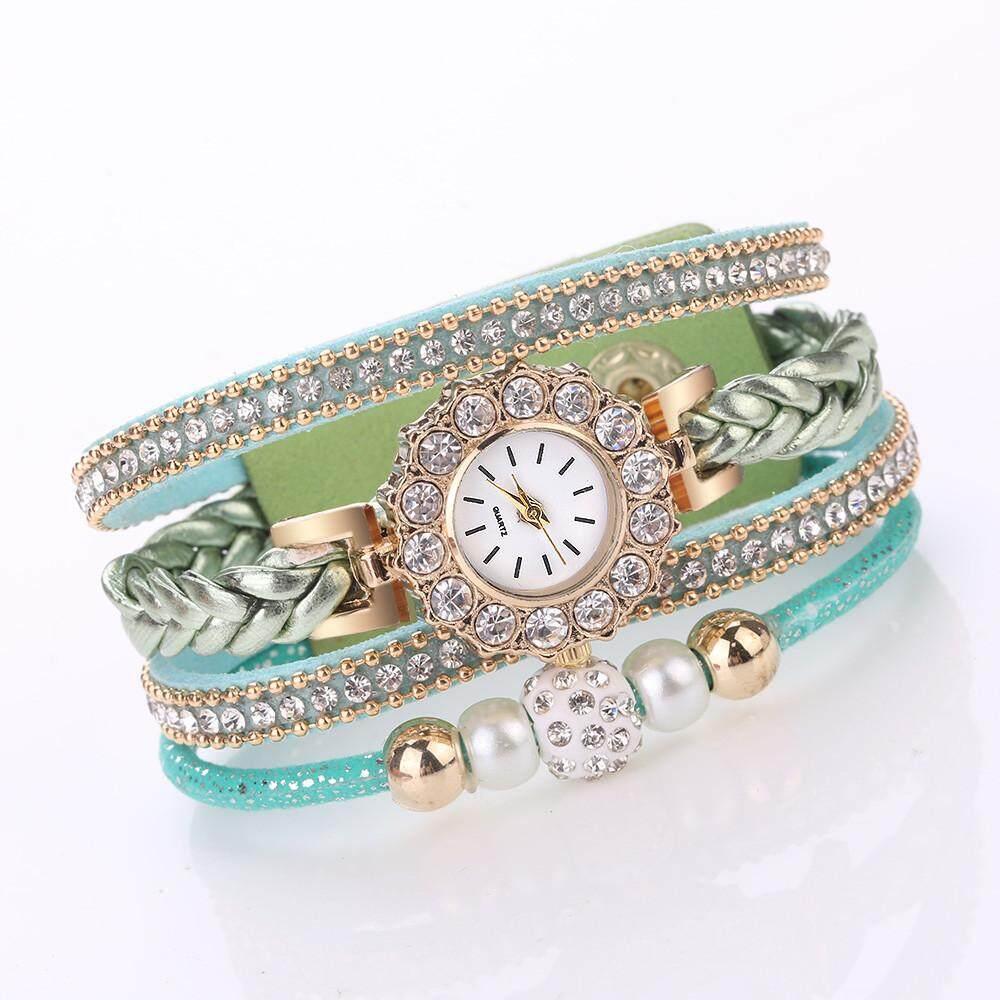 ผู้หญิงนาฬิกาแฟชั่นวินเทจสานตัดควอตซ์นาฬิกาข้อมือสร้อยข้อมือสำหรับสุภาพสตรี
