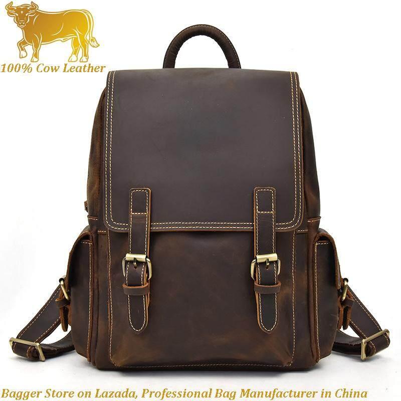 61d76df814d1 Italian 100% Genuine Cowhide Travel Backpack Crazy Horses Leather Men s  Retro Backpacks Student