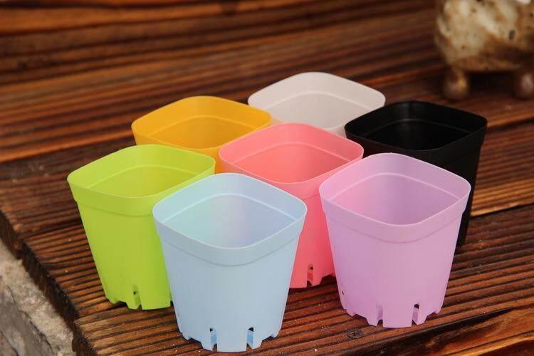 10 Pcs/Mini Square Tanaman Plastik Pot Bunga Dekorasi Kantor Rumah Planter Berwarna-warni dengan Pot Nampan Hijau Tanaman Buatan