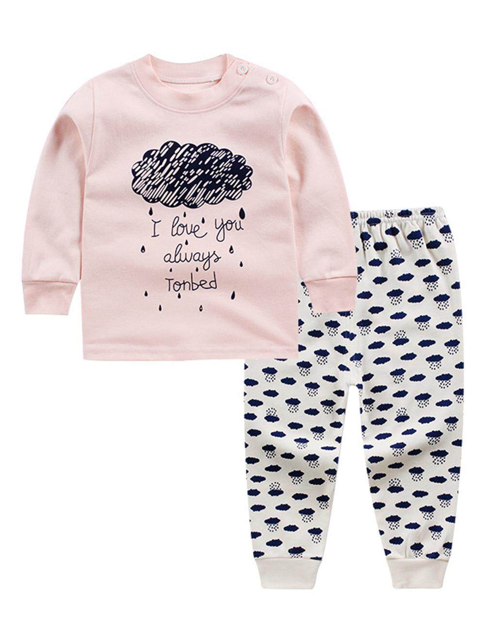 Rd 2pcs Casual Baby Underwear Set Long-Sleeve T-Shirt Long Pants Cute Pajamas Homewear Christmas Gift By Redcolourful.
