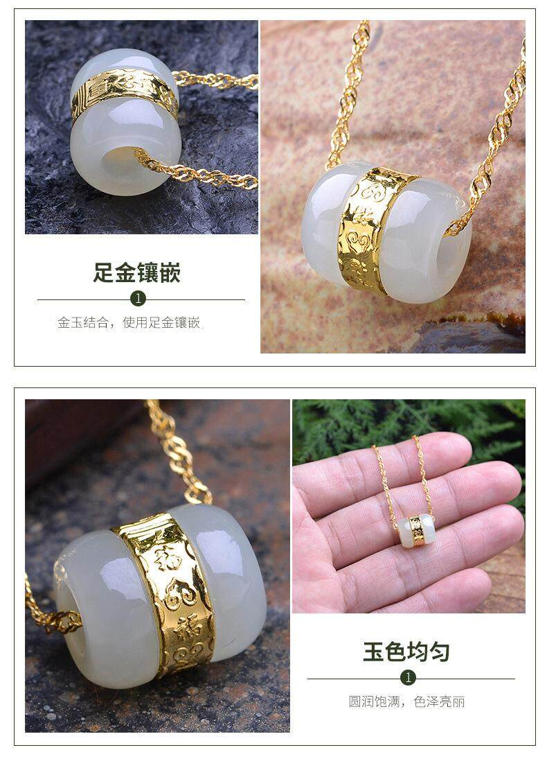 ... Jade plated Gold pendant necklace Kalung for gift cat eye stone - 3