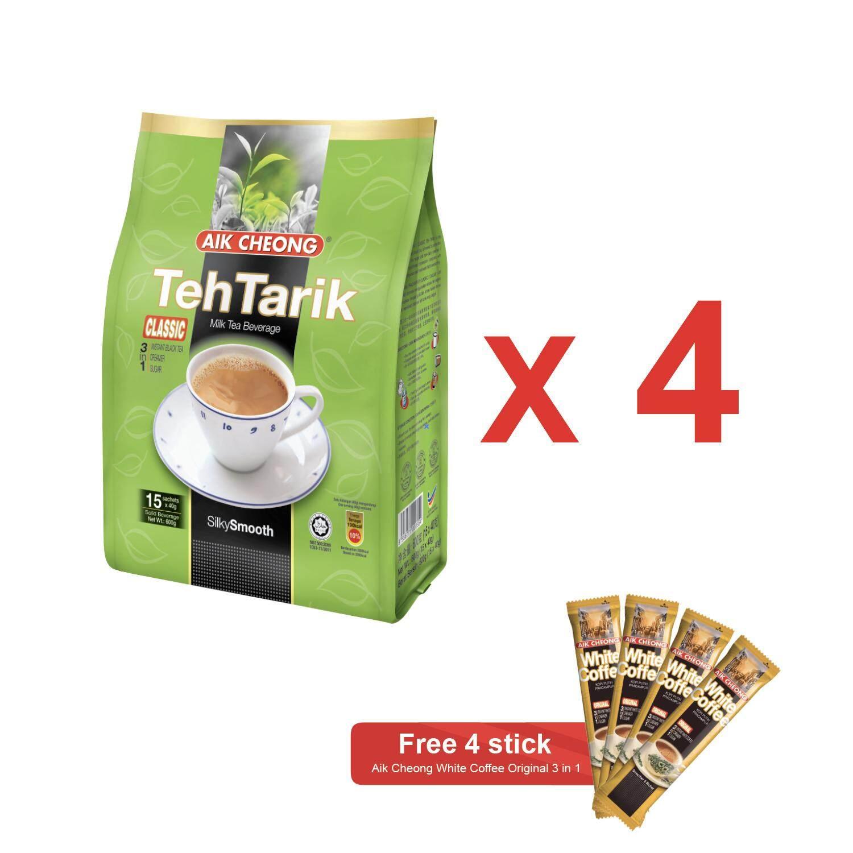 Aik Cheong Teh Tarik Classic 600g x 4 [FREE 4 White Coffee Sticks]