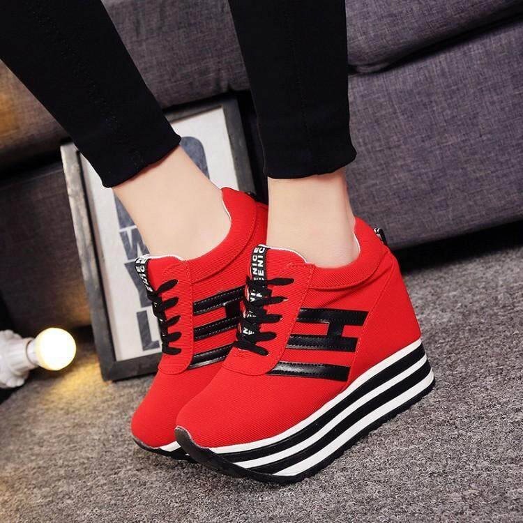 Women Fashion Height Increase Shoes Lady Thick-Soled Casual Footwear Solid Color Platform Shoes By Find You.