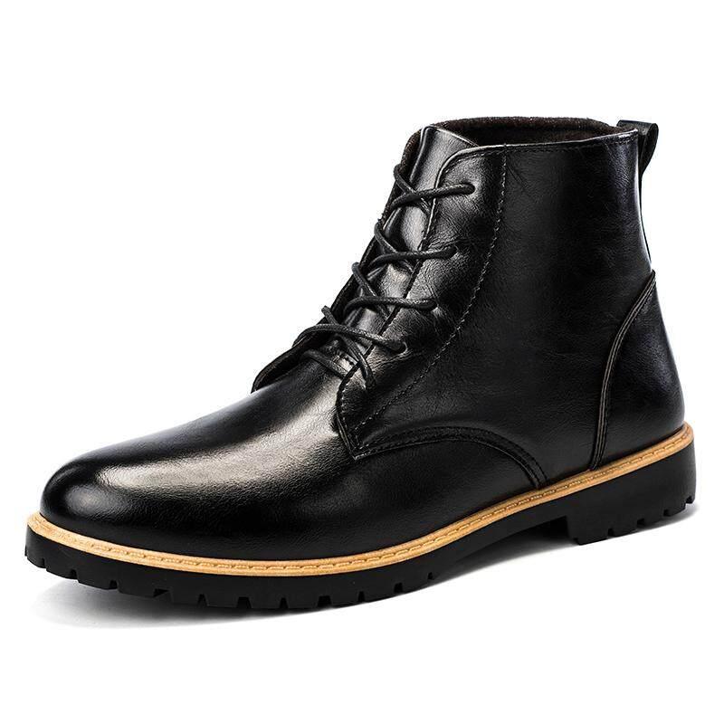 ผู้ชาย Top Top ลูกไม้รองเท้าบูทส์ข้อเท้าลำลอง Warm รองเท้าหนัง By Asia Online Supermarket.