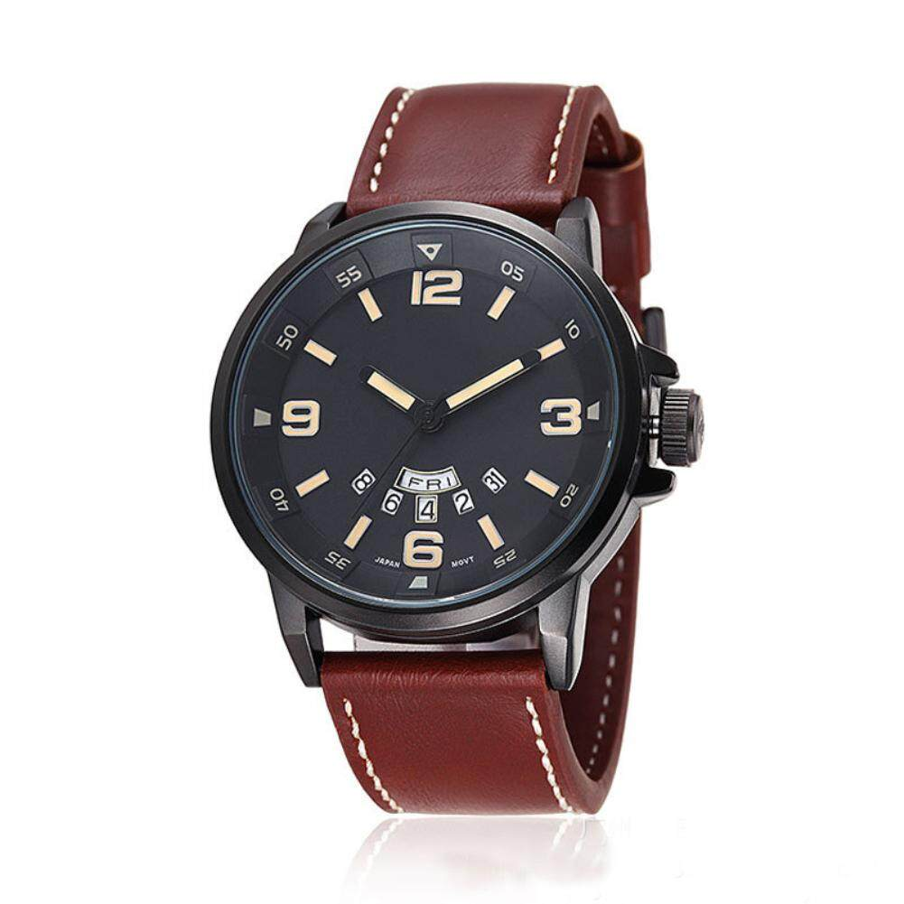 Sanwood® Genuine Leather Date Display Waterproof Quartz Business Men Wrist Watch Gift (Black) Malaysia