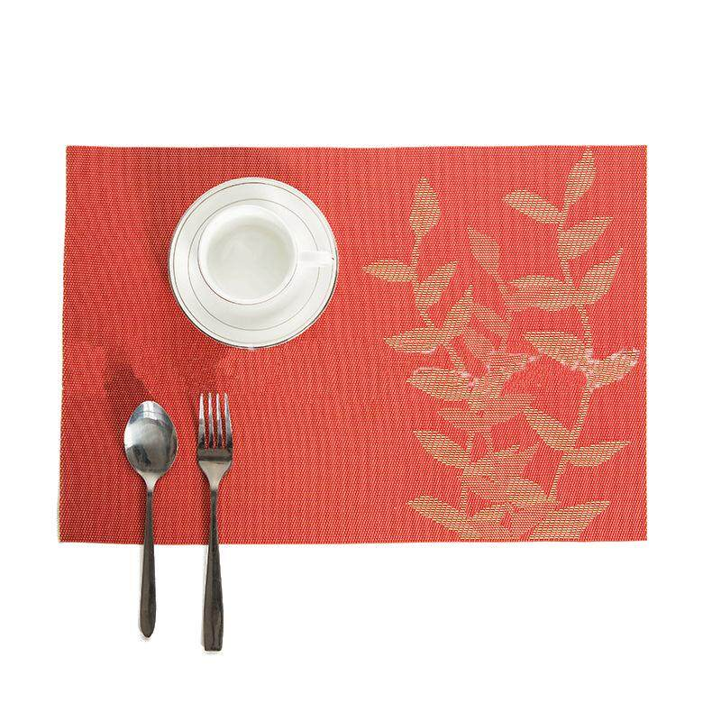 New Simple Placemats Insulation Skid Dining Table Pad Western Mats,Orange red - intl