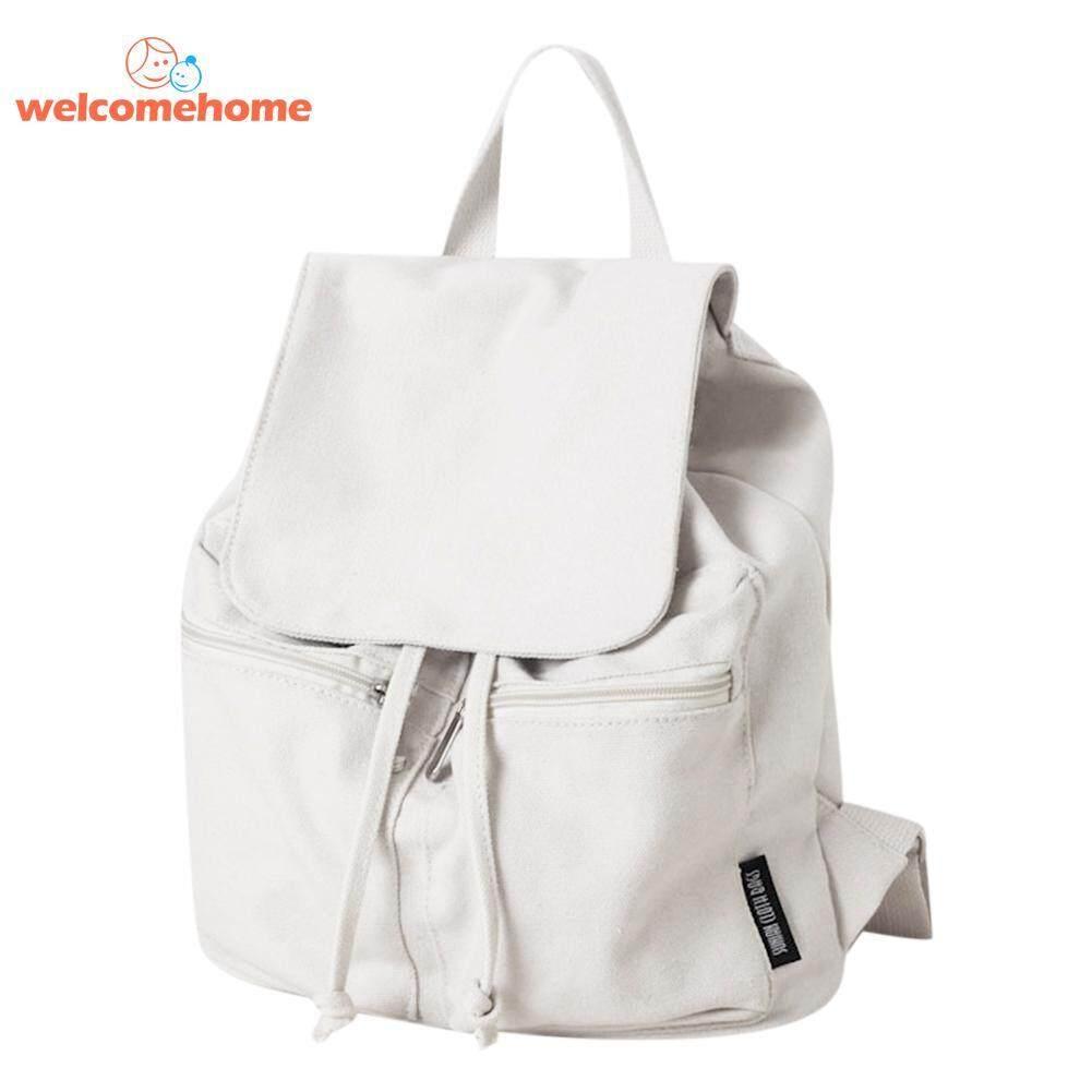 Canvas Backpack Shoulder School Bag For Teen Girl Women Pure Color Rucksack - Intl By Welcomehome.