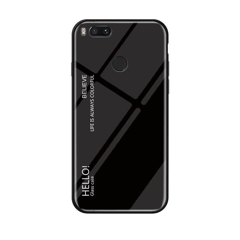 Xiaomi Mi A2 Case, RUILEAN Unique Gradient Tempered Glass Anti-Scratch Case Slim Thin