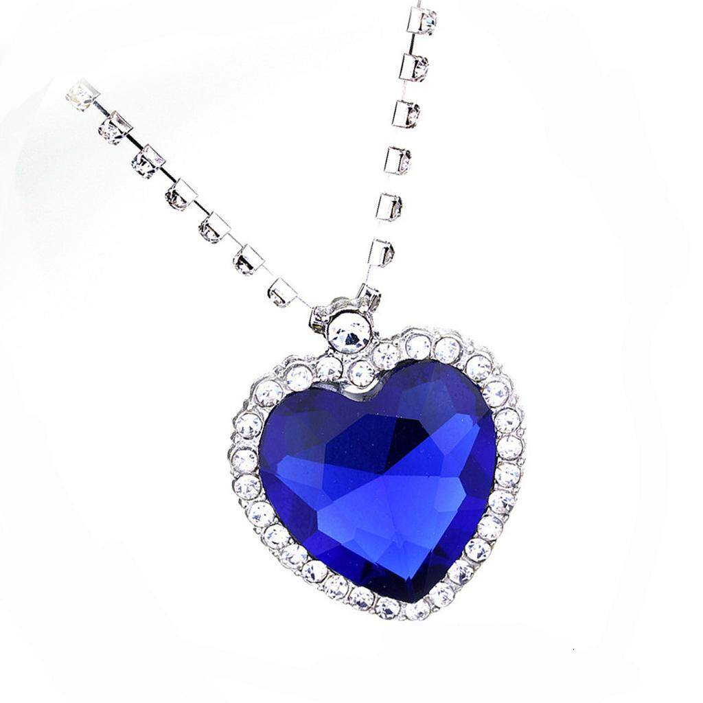 ... GuangquanStrade Metal Crystal Sapphire Pendant Necklace Titanic Heart Of The Ocean Necklace - 3 ...