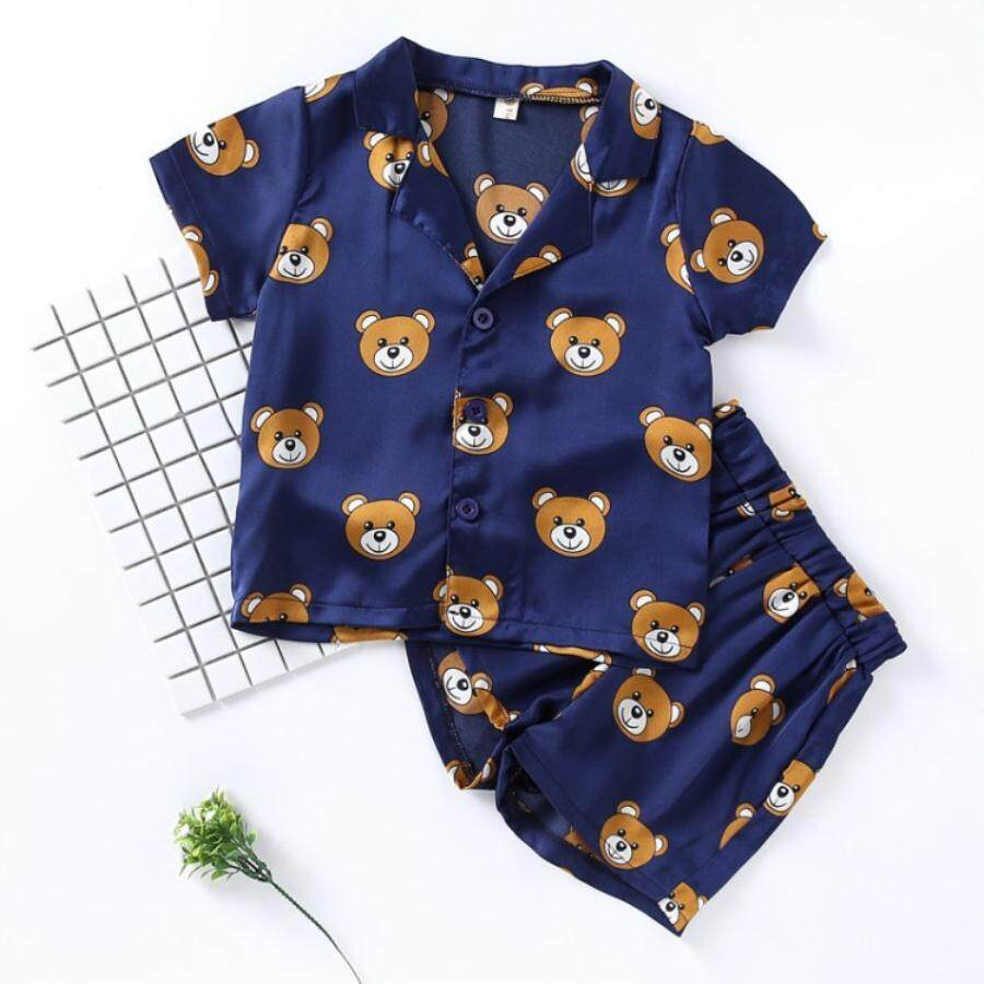 Summer Children's Suits Fashion Bear Pajamas For Boys Girls Cartoon Printed Home Wear Short Sleeve 2pcs