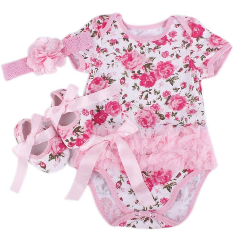 YBC Newborn Girls Rose Flower Dress Romper Tutu Jumpsuit Outfits Clothes - intl