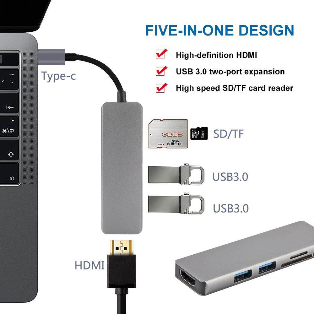 Kobwa Usb Type C Hub 5 In 1 Hdmi 4k Adapter, 2 Usb 3.0 Ports, 1 Sd Memory Port, 1 Microsd Card Reader Compatible Macbook Pro 2017/2016, H W M A Tebook, Google Chrom Ebook , San Sungs8 More By Kobwa Direct.