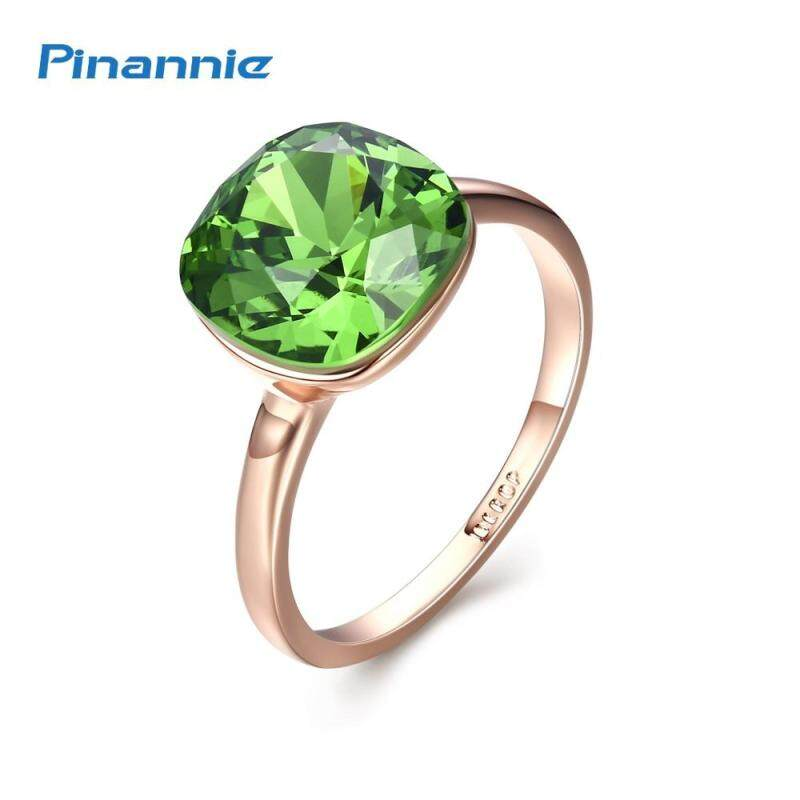 Pinannie Gold Plated Green Crystal Rings Jewellery for Women