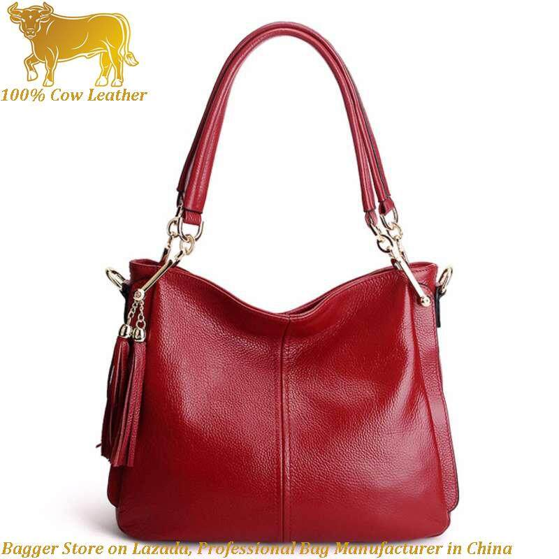 High Quality 100% Genuine Cow Leather Women Tote Top-Handle Bag
