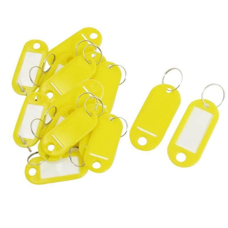 20 Pcs ID Kunci Tag Nama Kartu Label Gantungan Kunci Gantungan Kunci Kuning-Intl