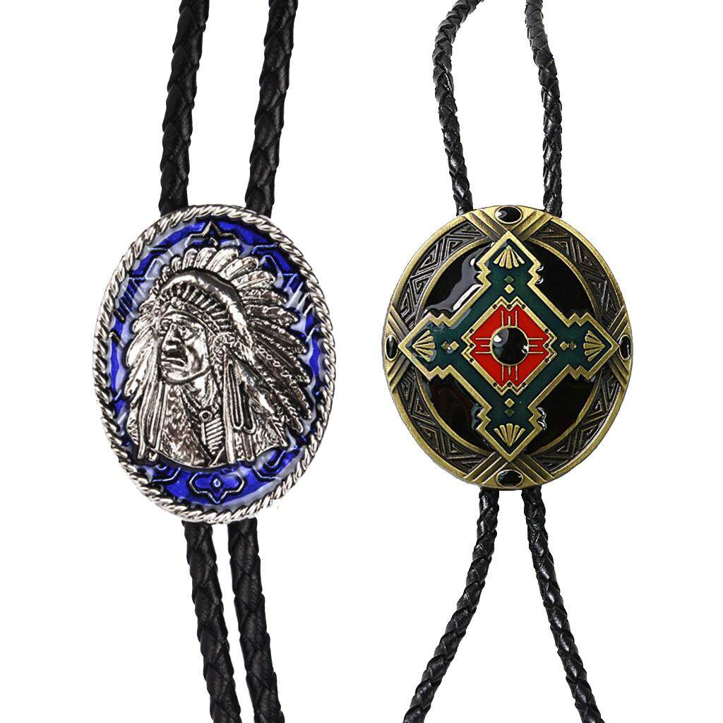 BolehDeals 2 Pieces Indian Chief of A Tribe and Indian Totem Western Cowboy Rodeo Bolo Tie