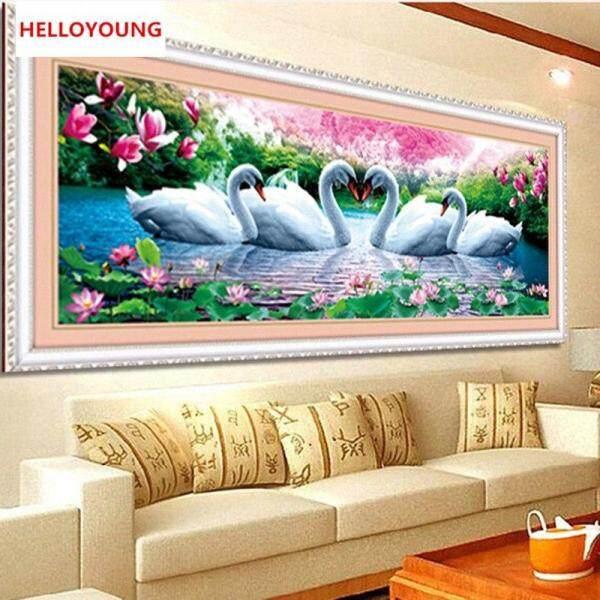 DIY 5D Swan Eternal Love Round Diamond Painting Cross Stitch Kits Soulmate Diamond Mosaic Home Decor Diamonds Embroidery