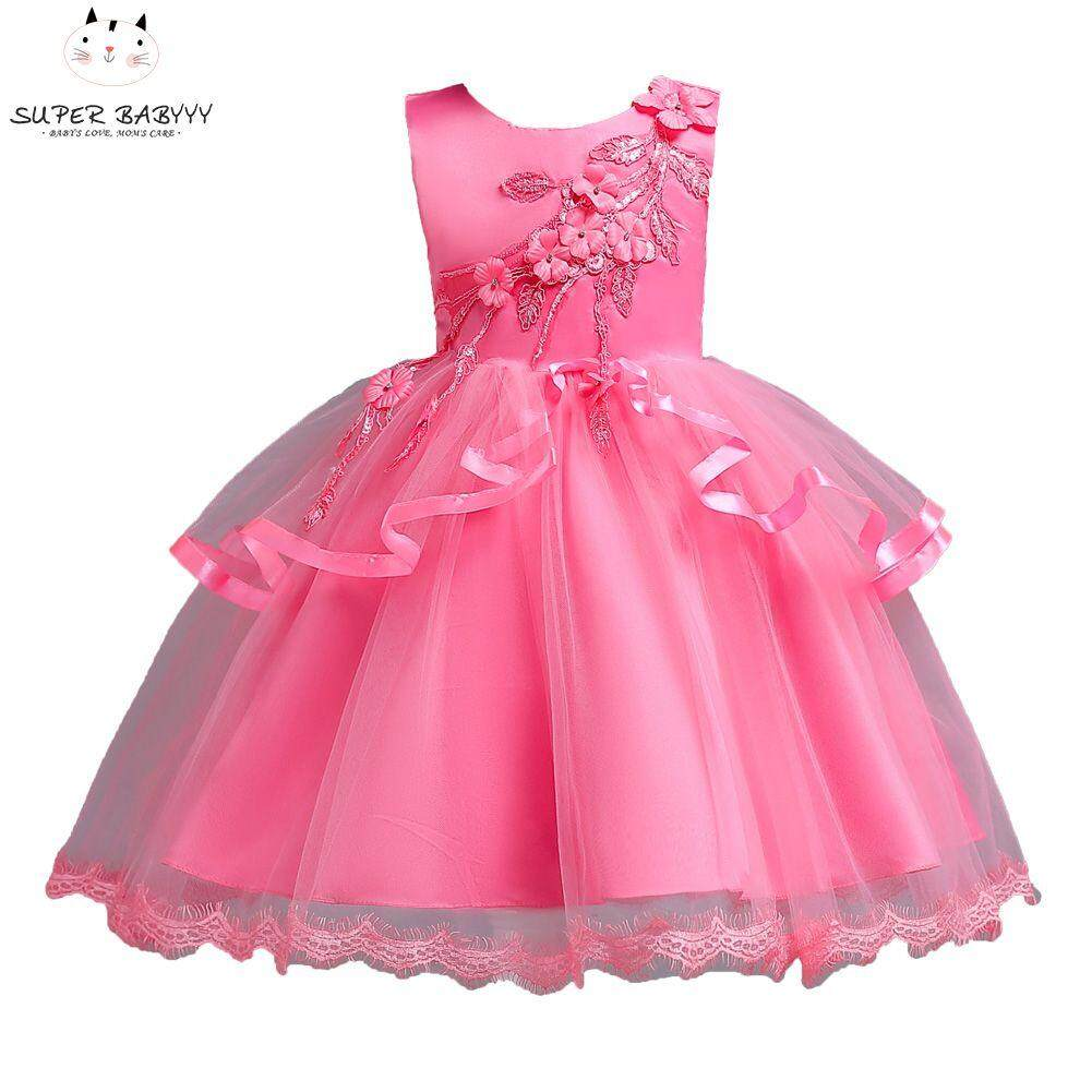Giá bán SBY Children Kids Girl Dress Sleeveless Round Collar Gift Princess Cute For Performance Party