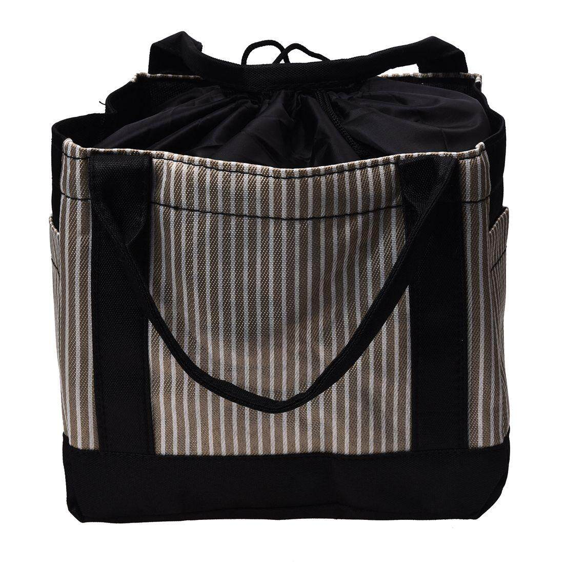 Portable Cute Striped Draw String Lunch Bag Square Shaped Picnic Basket Oxford Lunch Box Rose red