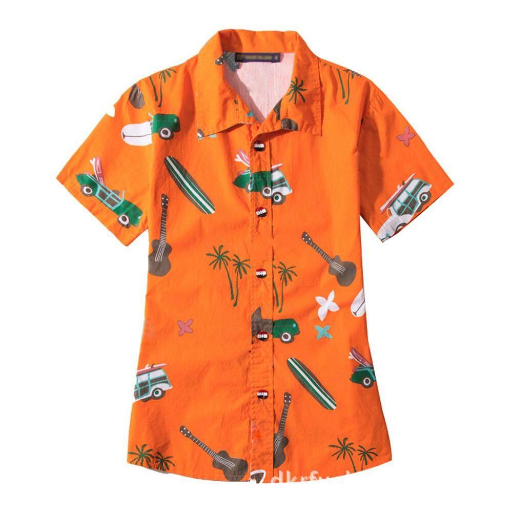 DSstyles Casual Hawaiian Style Parent-child Shirt Loose Printing Short Sleeve Int:L Orange - intl
