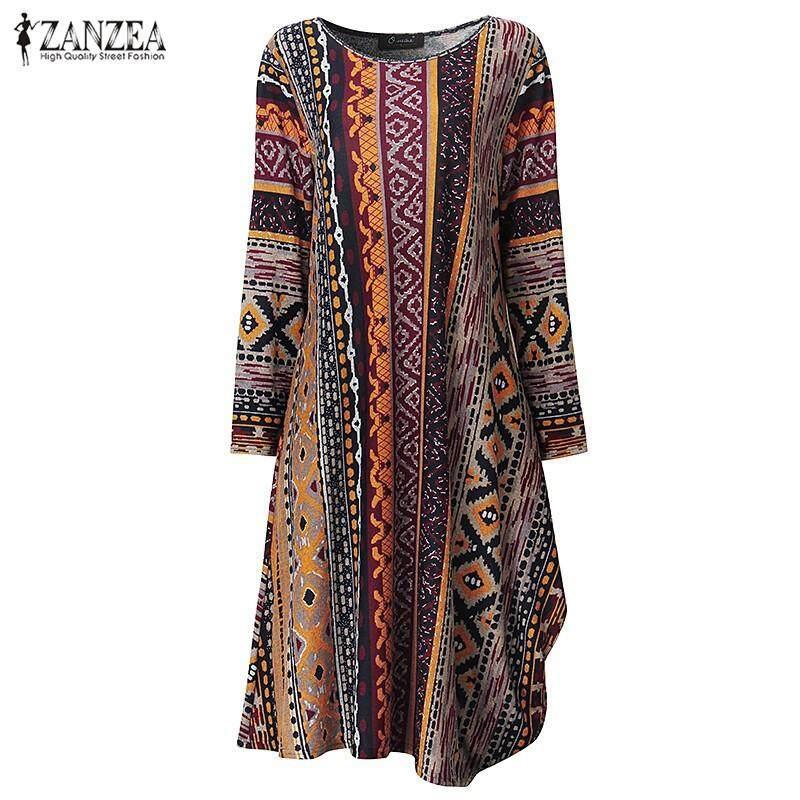 ZANZEA Women Autumn Ladies Casual Loose Asymmetrical Mid-calf Dresses Long Sleeve Vintage Print Dress Vestidos Plus Size