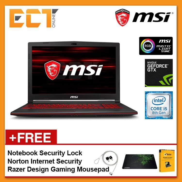 MSI GL63 8RC-413 Gaming Laptop (i5-8300H 4.00GHz,1TB,4GB,GTX1050-4G,15.6 FHD,W10P) Malaysia